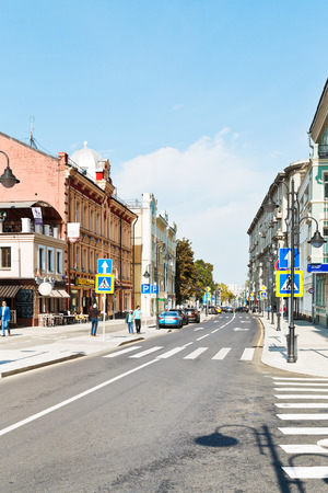 cycleway: MOSCOW, RUSSIA - SEPTEMBER 13, 2014: old Pjatnitskaya street in Moscow after reconstruction. New pedestrian area on this historical street was opened august 22, 2014