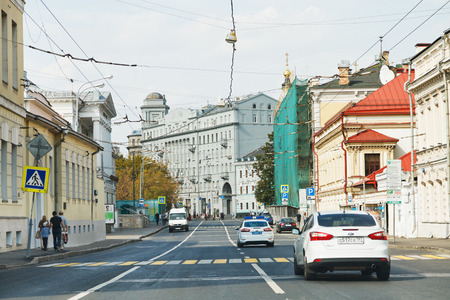 soljanka: MOSCOW, RUSSIA - SEPTEMBER 13, 2014: view historic Solyanka street in Moscow. It is one of the oldest streets in Moscow, beginning of ancient road to city of Ryazan.