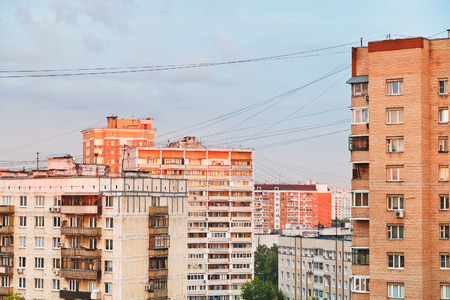 residential buildings in city block at sunset, Moscow photo