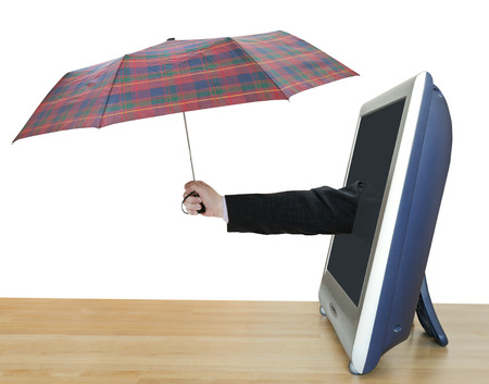 leans on hand: weather forecast - hand with checkered umbrella leans out TV screen isolated on white background