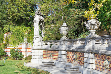 buit in: YALTA, RUSSIA - OCTOBER 3, 2014: decoration of fence in Masandra Palace Park in Crimea. The Palase was buit in 1881-1902 years.