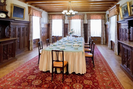 buit in: YALTA, RUSSIA - OCTOBER 3, 2014: interior of dining room in Masandra Palace of Emperor Alexander III in Crimea. The Palace was buit in 1881-1902 years. Editorial
