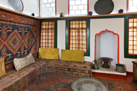 crimean: BAKHCHYSARAI, RUSSIA - OCTOBER 1, 2014: interior of front room of Harem in Khans Palace (Hansaray) in Bakhchisaray. The palace was built in 16th cent. and became home for Crimean Tatar Khans