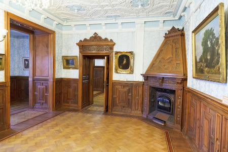 buit in: YALTA, RUSSIA - OCTOBER 3, 2014: interior of cabinet in Masandra Palace of Emperor Alexander III in Crimea. The Palace was buit in 1881-1902 years.
