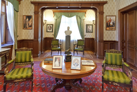 buit in: YALTA, RUSSIA - OCTOBER 3, 2014: interior of living room in Masandra Palace of Emperor Alexander III in Crimea. The Palace was buit in 1881-1902 years.