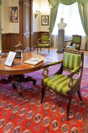 buit in: YALTA, RUSSIA - OCTOBER 3, 2014: interior of working room in Masandra Palace of Emperor Alexander III in Crimea. The Palace was buit in 1881-1902 years. Editorial