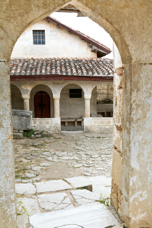 crimean: Gate to yard with Kenesas (synagogue) - Karaite prayer houses in chufut-kale town, Crimea