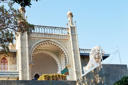 vorontsov: south facade of Vorontsov (Alupka) Palace and medichi lion in Crimea