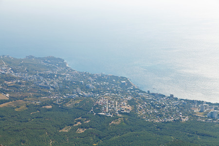 Black Sea and Big Yalta city on South coast of Crimea from Ai-Petri mountain
