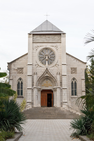 Church of the Blessed Virgin Mary in Yalta (Roman Catholic Church of the Immaculate Conception of the Blessed Virgin Mary). Stock Photo