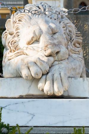 alupka: sleeping medici lion near Vorontsov (Alupka) Palace, Crimea