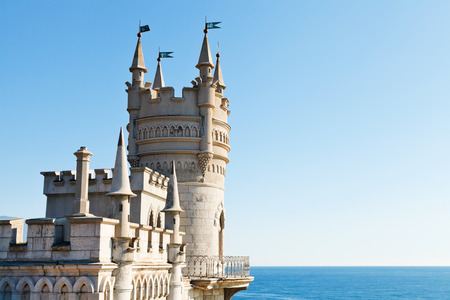 Swallows Nest palace on South Coast of Crimea and blue sky