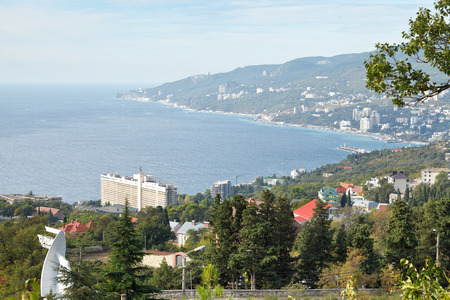 View of Yalta city from Massandra district in Crimea photo