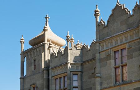 vorontsov: detail of Northern facade of Vorontsov (Alupka) Palace, Crimea Editorial