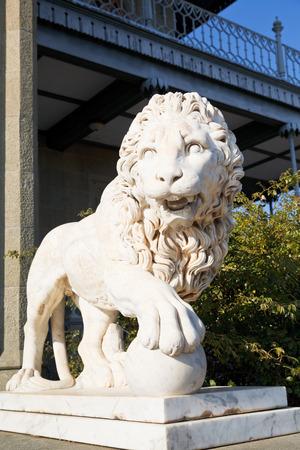 vorontsov: marble medici lion with sphere near Vorontsov (Alupka) Palace, Crimea