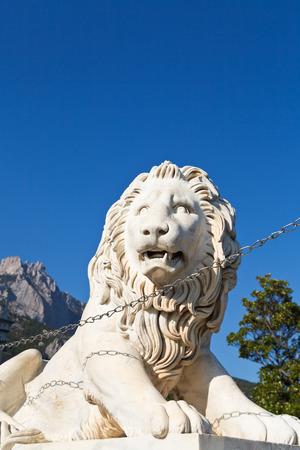 alupka: medici lion near Vorontsov (Alupka) Palace and Ai-Petri rock, Crimea Editorial