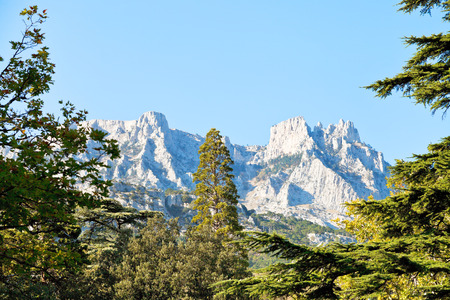 view of Ai-Petri mountain from Alupka garden in autumn day, Crimea