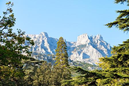 alupka: view of Ai-Petri mountain from Alupka garden in autumn day, Crimea