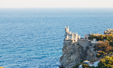 view of Aurora cliff with Swallow Nest castle on South Coast of Crimea