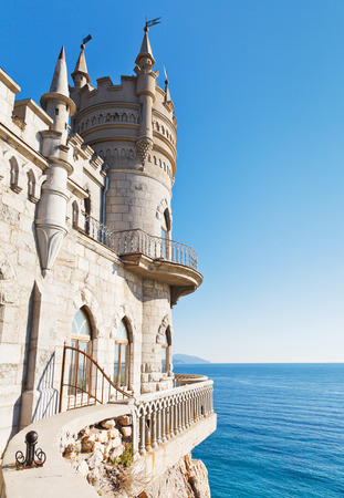 Blue sky and Swallows Nest castle on South Coast of Crimea
