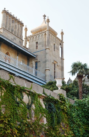 alupka: tower of Vorontsov (Alupka) Palace in Crimea Editorial