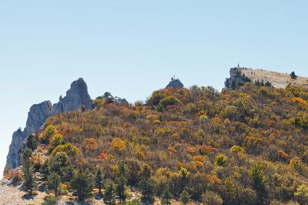 autumn woods on mountain plateau Ai-Petri in Crimea photo