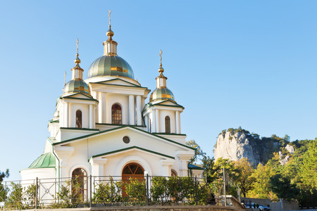 mount saint michael: orthodox Church of St. Michael the Archangel in Oreanda district in Crimea Stock Photo