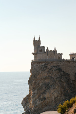 Aurora cliff with Swallows Nest castle at sunrise on Southern Coast of Crimea
