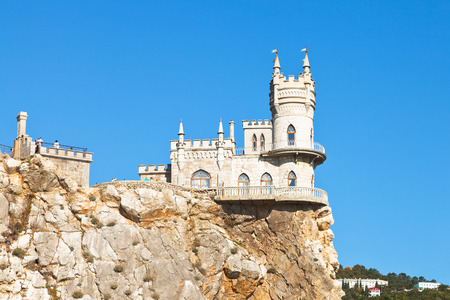 side view of Aurora rock with Swallows Nest castle on Southern Coast of Crimea