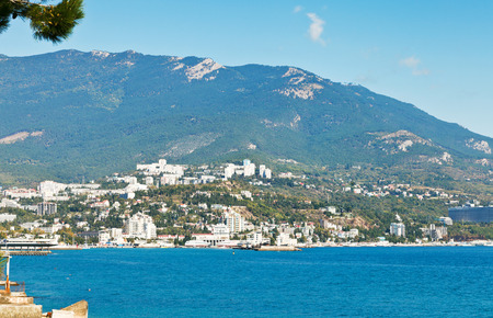 skyline of Yalta city on Black Sea in Crimea photo