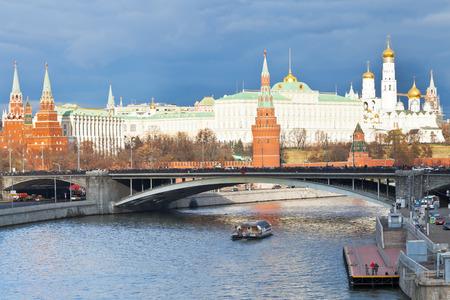 MOSCOW, RUSSIA - NOVEMBER 2, 2014: Bolshoy Kamenny Bridge at Moskva River and Kremlin in Moscow in autumn day. Bolshoy Kamenniy (Big Stone) Bridge was built in 1687-1693 years.