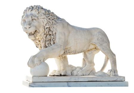 vorontsov: marble medici lion near Vorontsov (Alupka) Palace, Crimea isolated on white background