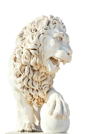 vorontsov: marble medici lion with ball near Vorontsov (Alupka) Palace in Crimea isolated on white background