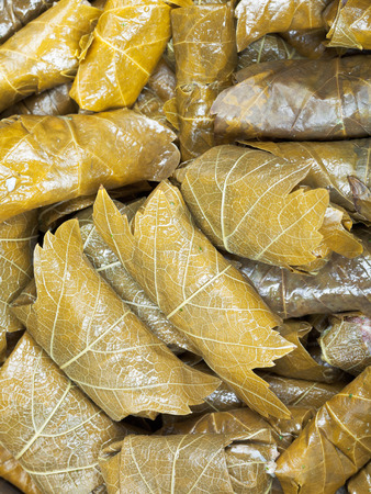 hojas parra: comida armenia - dolma de hojas de vid en escabeche y carne picada de cerca