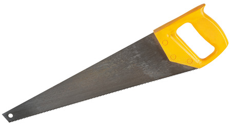 crosscut: crosscut hand saw with yellow handle isolated on white background Stock Photo