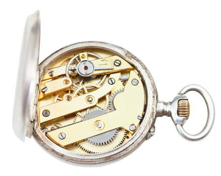 top view of brass clockwork of retro silver pocket watch isolated on white background photo