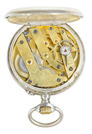 top view of brass movement of retro silver pocket watch isolated on white background photo