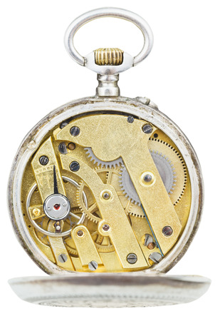 top view of brass movement of vintage pocket watch isolated on white background photo