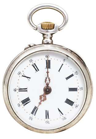 seven o'clock: seven oclock on the dial of retro pocket watch isolated on white background