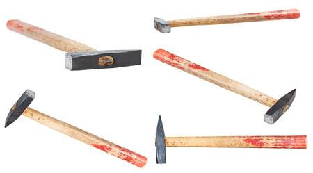 peen: set of Cross Peen Hammers with square face isolated on white background