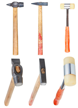 set of hard-faced and soft-faced hammers isolated on white background photo