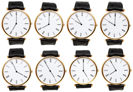 set of wristwatch dials with different time isolated on white background