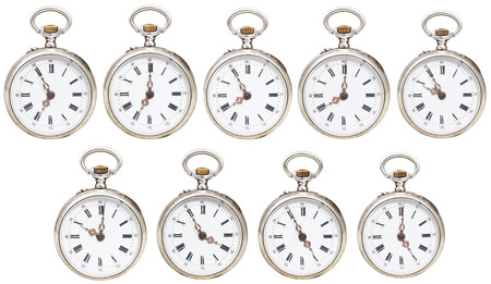 seven o'clock: set of retro pocket watches with different time isolated on white background