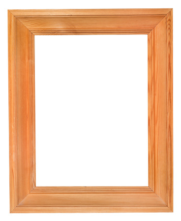 simple wide wood picture frame with cutout canvas isolated on white background photo