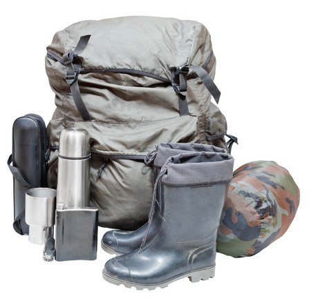 Set Of Camping Equipment With Backpack Gumboots Thermos Knife Flask Can