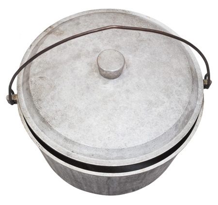 sooty: top view of camping sooty pot isolated on white background