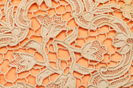 skillfully: vintage knitting craftsmanship - detail of dutch lace embroidered by needle Stock Photo