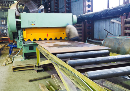 guillotine: cutting machine for metal sheets in mechanical workshop