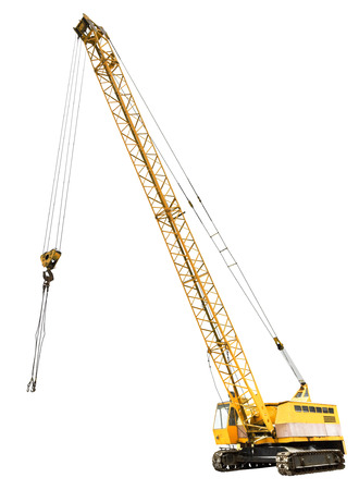 diesel electric yellow crawler crane isolated on white background