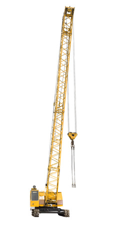 mobile yellow crawler crane isolated on white background photo